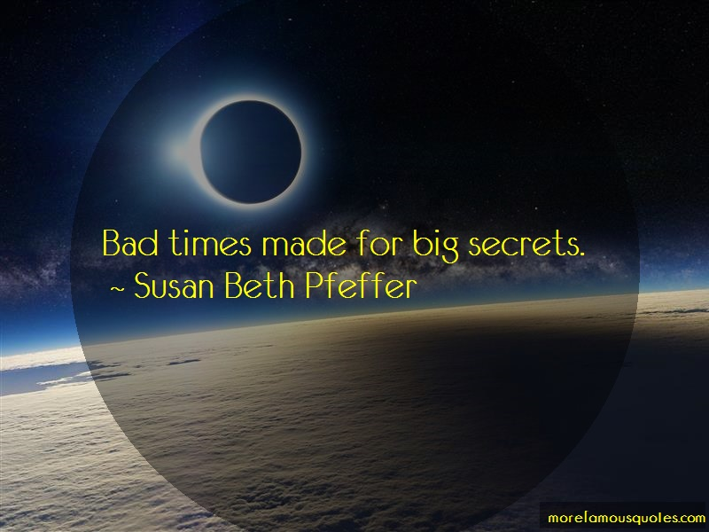 Susan Beth Pfeffer Quotes: Bad Times Made For Big Secrets