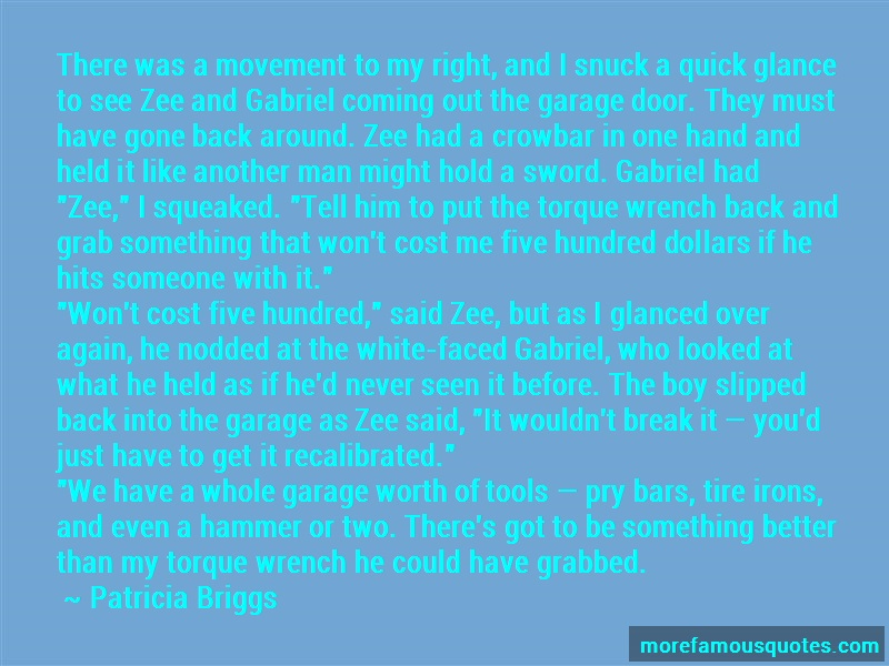Patricia Briggs Quotes: There was a movement to my right and i