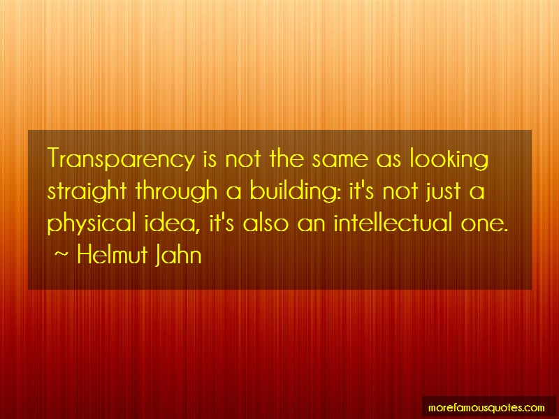 Helmut Jahn Quotes: Transparency is not the same as looking