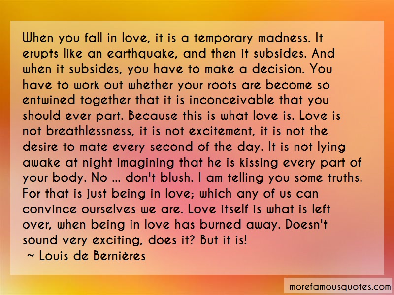 Louis-de-Bernieres Quotes: When you fall in love it is a temporary