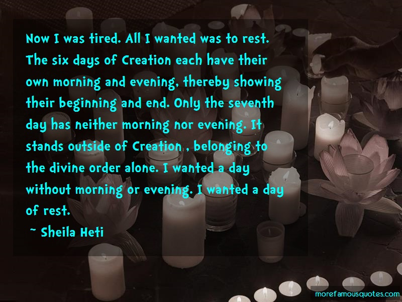 Sheila Heti Quotes: Now I Was Tired All I Wanted Was To Rest