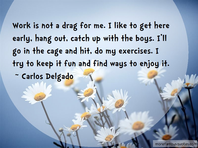Carlos Delgado Quotes: Work is not a drag for me i like to get