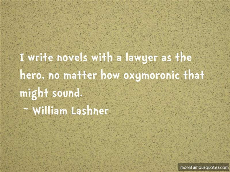 William Lashner Quotes: I write novels with a lawyer as the hero