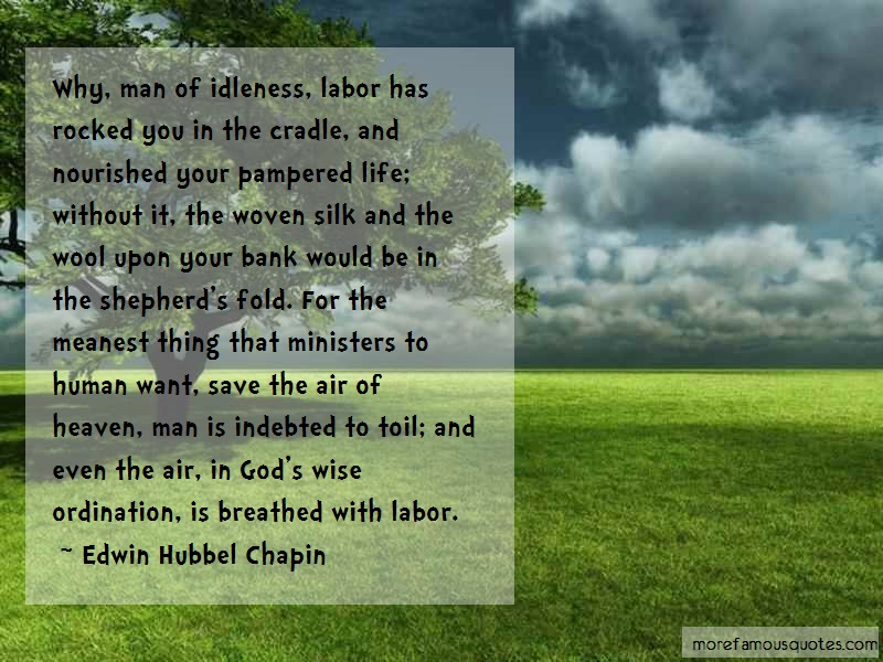 Edwin Hubbel Chapin Quotes: Why Man Of Idleness Labor Has Rocked You