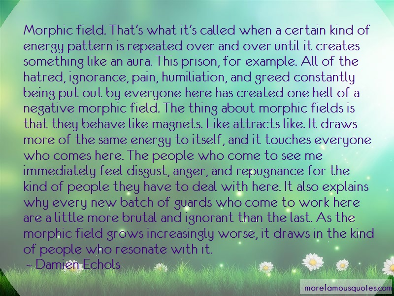 Damien Echols Quotes: Morphic Field Thats What Its Called When