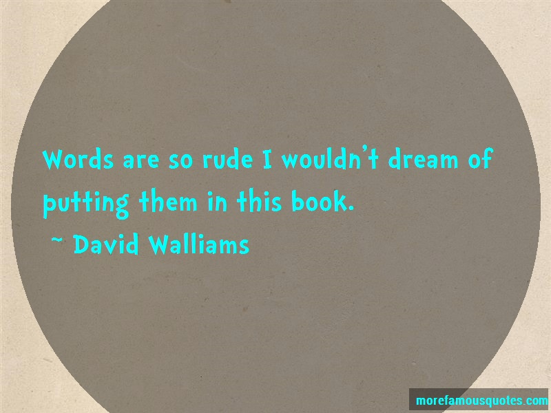 David Walliams Quotes: Words are so rude i wouldnt dream of
