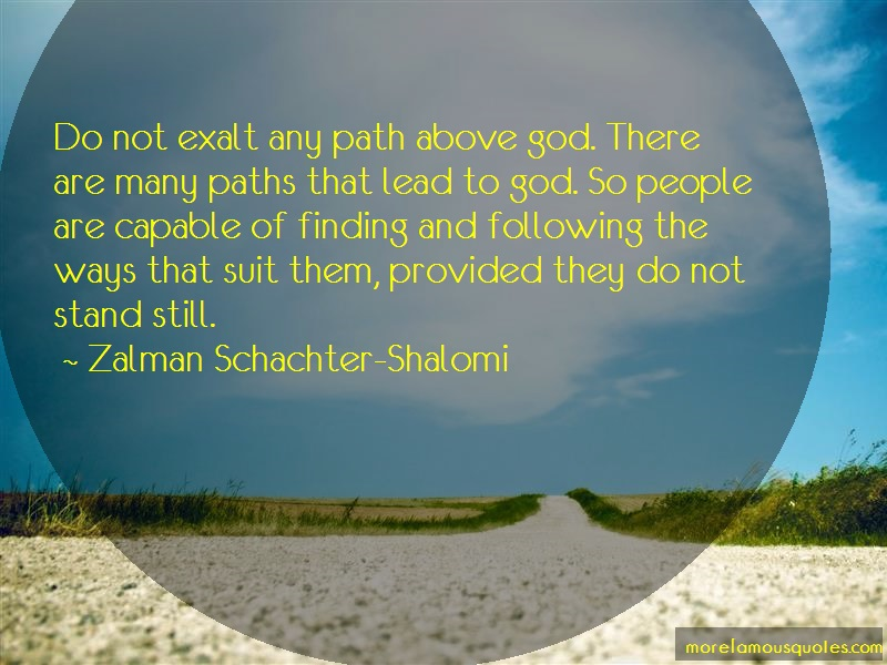 Zalman Schachter-Shalomi Quotes: Do not exalt any path above god there
