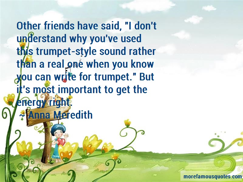 Anna Meredith Quotes: Other Friends Have Said I Dont