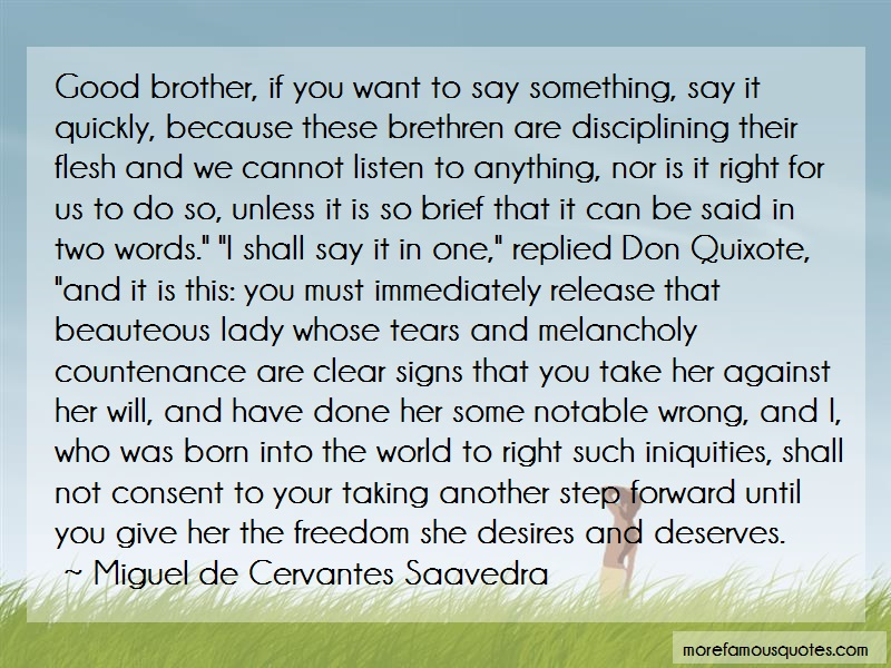 Miguel De Cervantes Saavedra Quotes: Good Brother If You Want To Say