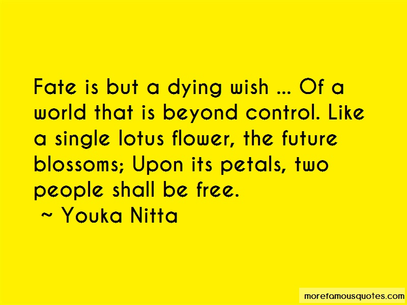 Youka Nitta Quotes: Fate is but a dying wish of a world that