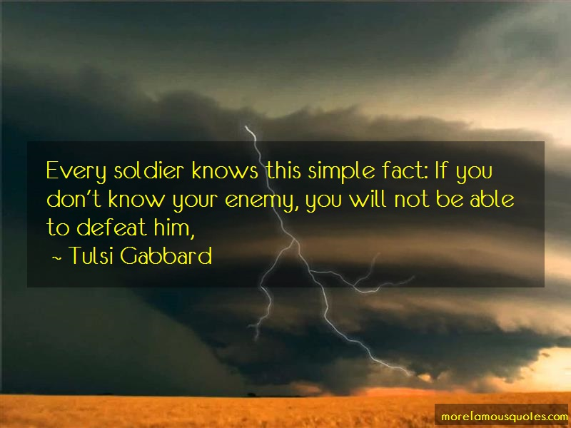 Tulsi Gabbard Quotes: Every soldier knows this simple fact if