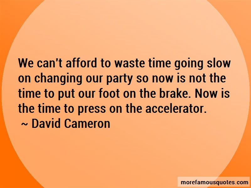David Cameron Quotes: We cant afford to waste time going slow